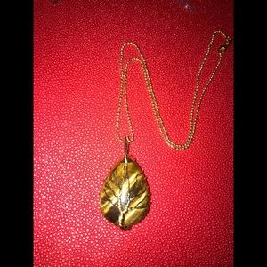 TIGERS EYE gold wire wrapped necklace protection